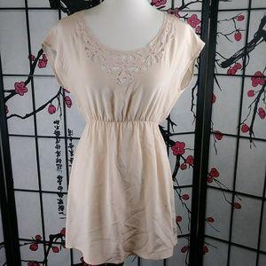 Petticoat Alley Silk Blush Dress Cut-Out Neckline